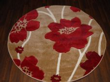 MODERN 140CMX140CM CIRCLE RUGS WOVEN BACK HAND CARVED BEIGE/RED POPPY LOVLEY